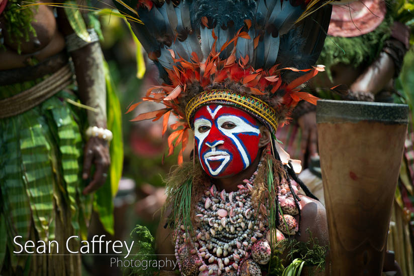 Tribal man with red face paint and feather headdress playing drum at Goroka sing-sing