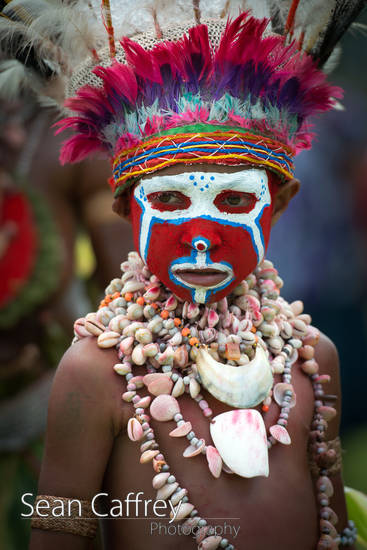 Tribal boy with red face paint and feather headdress at Goroka sing-sing (Tokua Culture Singsing Group)