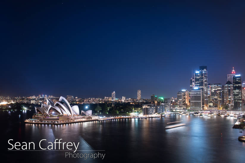 Opera House from Sydney Harbour Bridge at night