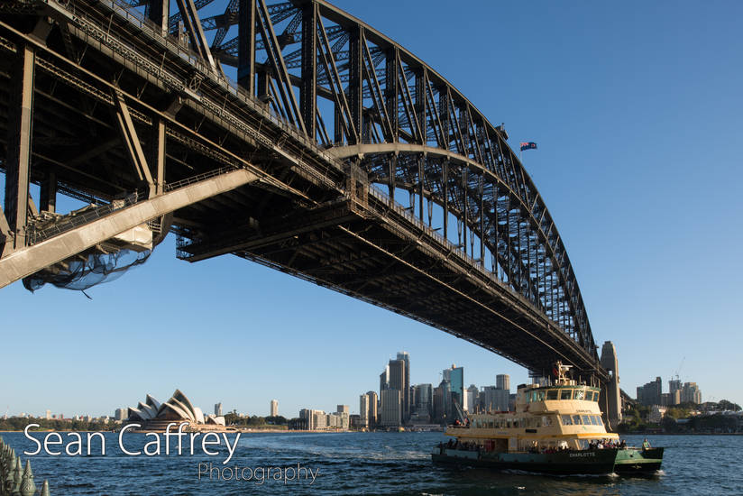 Sydney harbour Bridge with Opera House and ferry