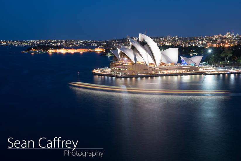 Sydney Opera House at night from Sydney Harbour Bridge